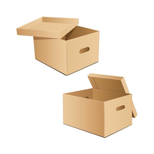 Brown goods storage box vector
