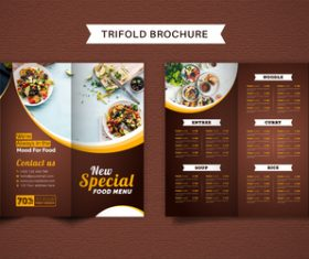 Brown trifold brochure food menu vector