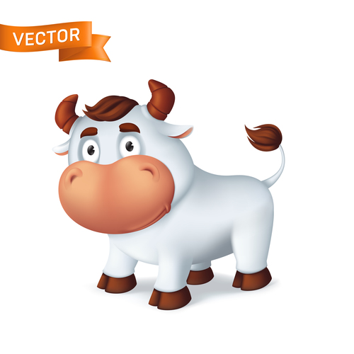 Bull cartoon icon vector
