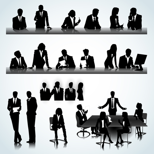 Business negotiation silhouette vector