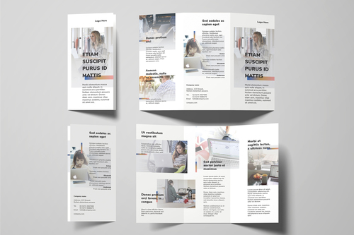Business work from home tri fold brochure template vector