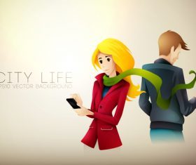 Busy city life cartoon illustration vector