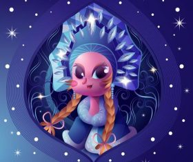 Cartoon Mythical Character Snow Princess Vector