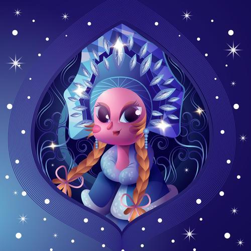 Cartoon Mythical Character Snow Princess Vector