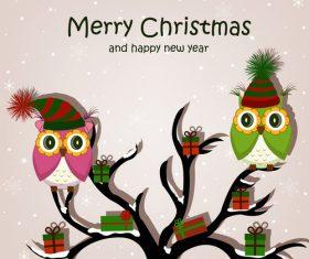 Cartoon animal illustration celebrating Christmas vector
