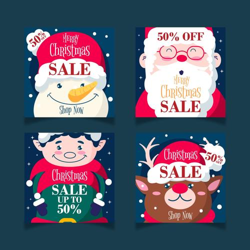 Cartoon characters and animals christmas promotion card vector