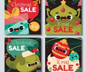 Cartoon christmas sale label vector
