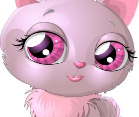 Cartoon cute kitten vector