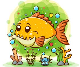 Cartoon fish watercolor illustration vector
