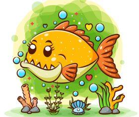 Cartoon fish watercolor illustration vector