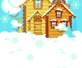 Cartoon house christmas card cover vector