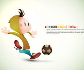 Cartoon illustration children football vector