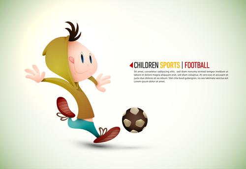 Cartoon illustration children football vector