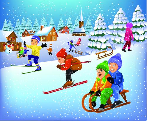 Cartoon illustration kids vector in winter outdoor
