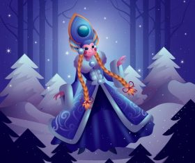 Cartoon mythical character Snow Princess in the jungle vector