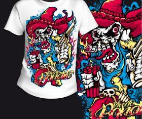 Cartoon t-shirt printing pattern design vector