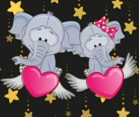 Cartoon two elephants and hearts vector