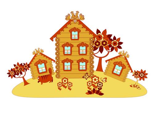 Cartoon wooden house vector