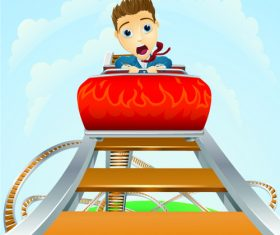 Cartoons children on a roller coaster vector