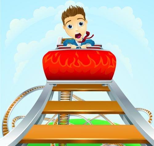 Cartoons children on a roller coaster vector