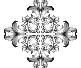 Carved decorative floral pattern vector