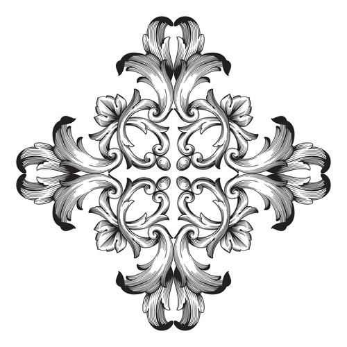 Carved decorative floral pattern vector