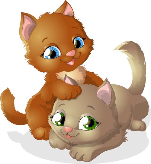 Cat buddy cartoon vector