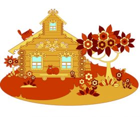 Cat flowers cartoon wooden house vector