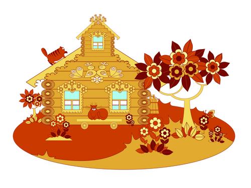 Cat flowers cartoon wooden house vector