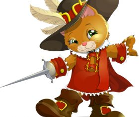 Cat swordsman cartoon vector