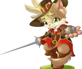 Cat swordsman cartoon vector holding a little mouse