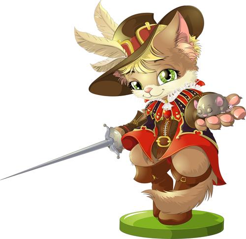 Cat swordsman cartoon vector holding a little mouse