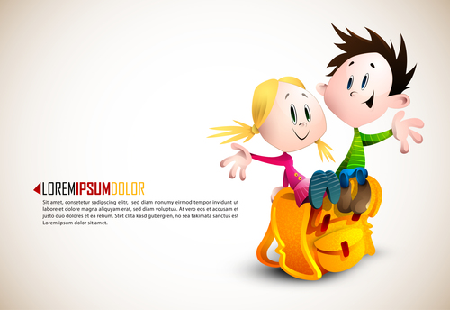 Children cartoon illustration vector sitting on school bag
