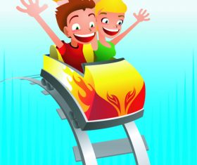 Children having fun on a roller coaster vector