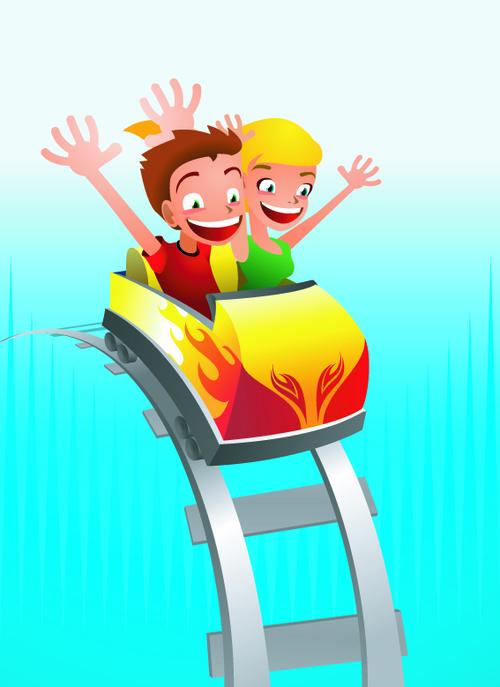 Children having fun on a roller coaster vector