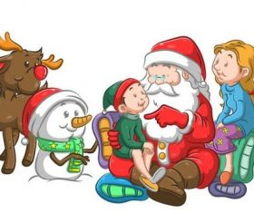 Children listening to Santa telling stories vector