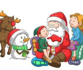 Children listening to Santa telling stories vector
