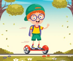 Children playing electric balance bike vector