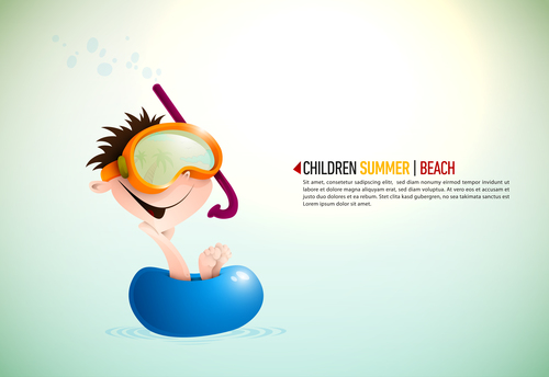 Children summer illustration vector