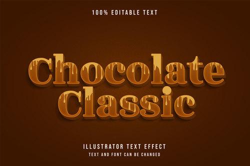 Chocolate classic 3d editable text vector