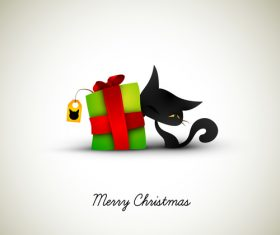 Christmas Greeting with Cat illustration vector