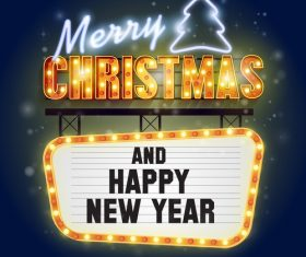 Christmas and happy new year billboard vector