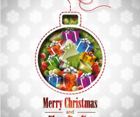 Christmas card with gifts inside colored balls vector