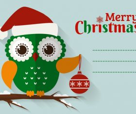 Christmas card with green owl vector