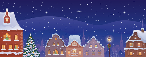 Christmas city night illustration vector