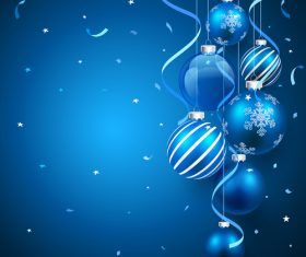 Christmas decoration blue balls and blue confetti background vector