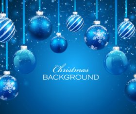 Christmas decoration blue balls background vector