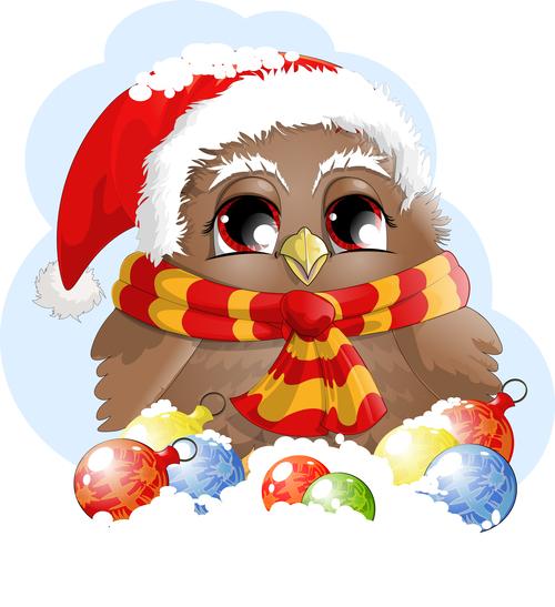 Christmas dress up owl vector