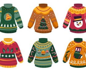Christmas element sweater cartoon vector