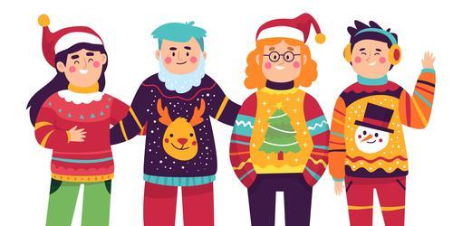 Christmas family party cartoon illustration vector